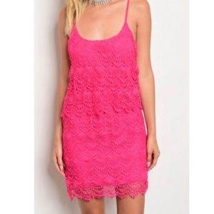 Pink Mini Sundress, Pink Lace SM New